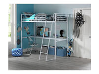 Kids Metal High Sleeper Bed Frame with Desk - White