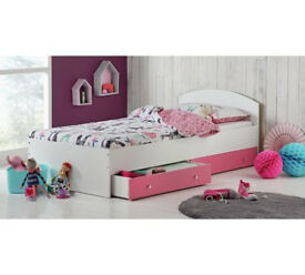 HOME Malibu Single Bed Frame - Pink and White
