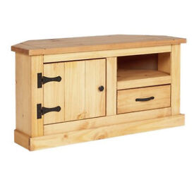 San Diego 1 Drawer Solid Pine Corner TV Unit