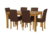 Home Ashdon Solid Wood Table & 6 Mid Back Chairs- Choco