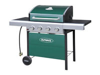 already built up Outback 4 Burner Gas BBQ with Cover - Green
