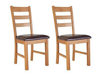 Collection Farmhouse Pair Of Solid Oak Dining Chairs