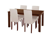 already built up Ashdon Solid Wood Table & 4 Mid Back Chairs - Cream