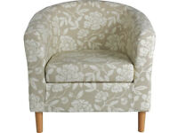 Floral Fabric Tub Chair - Natural
