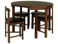 Hygena Alena Circular Solid Wood Table & 4 Chairs - Walnut