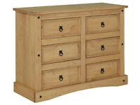 Collection Puerto Rico 3 + 3 Drawer Chest - Light Pine