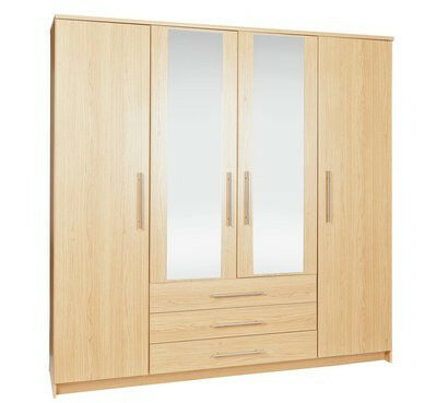 Normandy 4 Door 3 Drawer Mirrored Wardrobe - Oak