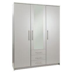 Normandy 3 Door 3 Drawer Mirrored Wardrobe - Grey