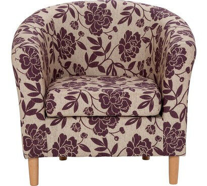 Floral Fabric Tub Chair - Cranberry