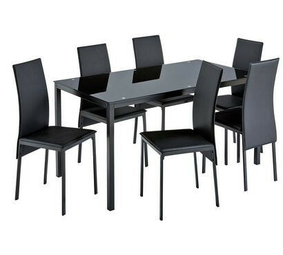 Hygena Lido Glass Dining Table And 6 Chairs Black