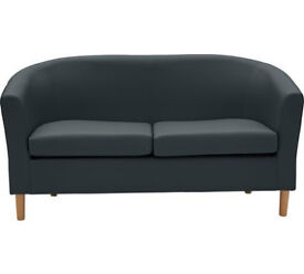 2 Seater Leather Effect Tub Sofa - Black