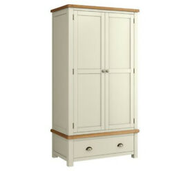 Heart of House Kent 2 Door 1 Drawer Wardrobe - Cream & Oak