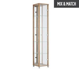 HOME 1 Glass Door Display Cabinet - Oak