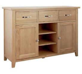 Fully assembled Islington Large Oak Veneer Sideboard