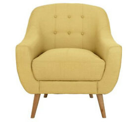Hygena Lexie Fabric Retro Chair - Yellow