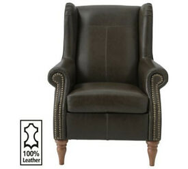 Heart Of House Argyll Studded Leather Chair - Dark Brown