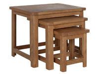 Heart of House Kent Nest of 3 Solid Oak & Oak Veneer Tables