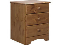 HOME Nordic 3 Drawer Bedside Chest - Pine