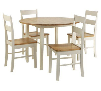 Chicago Round Solid Wood Dining Table 4 Chairs Leeds