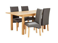 Home Clifton Extending Oak Veneer 4-6 Seater Table - Charcoal