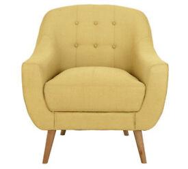Hygena Lexie Fabric Retro Chair - Yellow