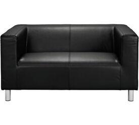 Moda Compact 2 Seater Leather Effect Sofa - Black