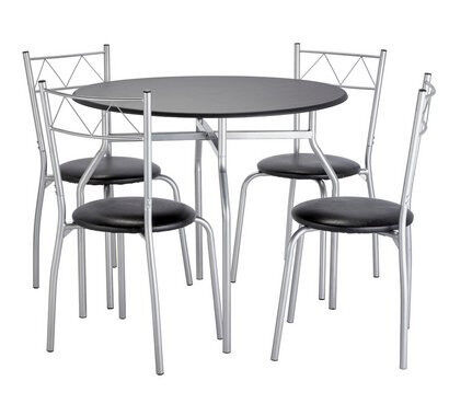 Home Oslo Round Dining Table 4 Chairs Black In Aston West