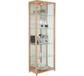 2 Door Glass Display Cabinet - Beech Effect