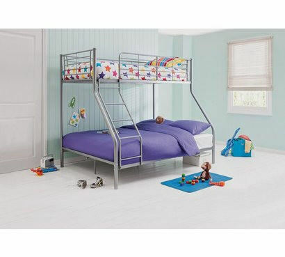 HOME Lucas Metal Triple Bunk Bed Frame - Silver