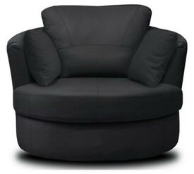 Milano Leather Swivel Chair - Black