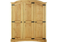 Collection Puerto Rico 3 Door Wardrobe - Light Pine