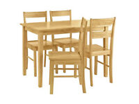 Home Chicago Solid Wood Table & 4 Chairs - Natural