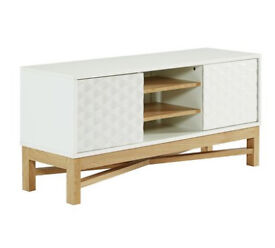 Hygena Zander Textured TV Unit - White & Oak Effect