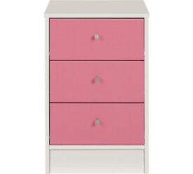 Malibu 3 Drawer Bedside Chest - Pink On White