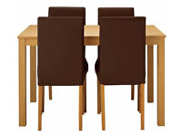 Home Elmdon Oak Effect Dining Table & 4 Chairs - Choc