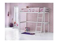 Kaycie Wooden High Sleeper Single Bed Frame - White
