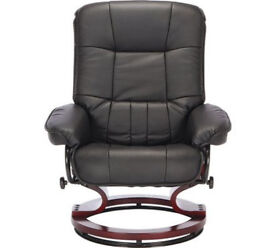 Santos Recline Chair And Footstool - Black