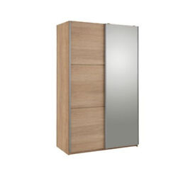 Hygena Bergen 2 Door Small Sliding Wardrobe - Oak & Mirror