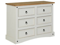 Collection Puerto Rico 3 + 3 Drawer Chest - White & Pine