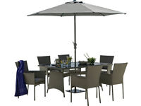Fully assembled Havana 6 Seater Rattan Effect Patio Set