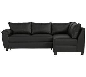 Fernando Leather Eff Right Corner Sofa Bed - Blk