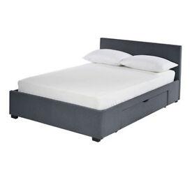 Hygena Lavendon Kingsize 2 Drawer Fabric Bed Frame - Grey