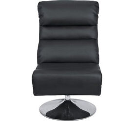 Costa Leather Effect Swivel Chair and Footstool - Black