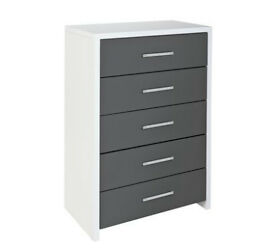 Argos Home Broadway 5 Drawer Chest - Grey Gloss & White
