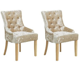 Heart Of House Cherwell 2 Button Velvet Chairs - Champagne