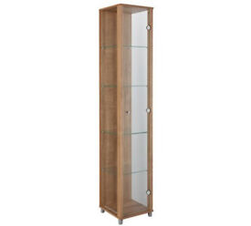1 Door Glass Display Cabinet - Light Oak