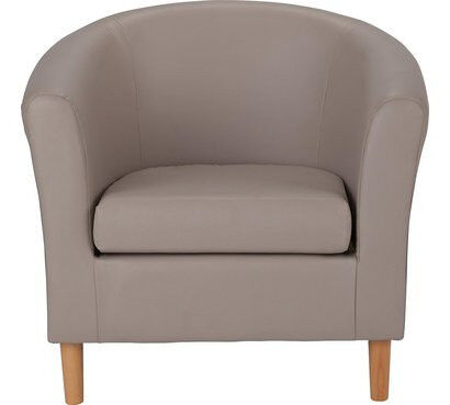 Leather Effect Tub Chair - Mocha