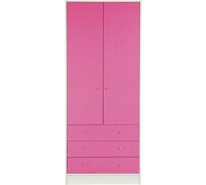 Kids New Malibu 2 Door 3 Drw Wardrobe - Pink on White