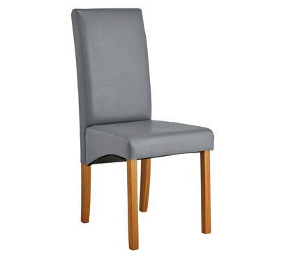 Collection Pair of Leather Effect Skirted Chairs - Grey