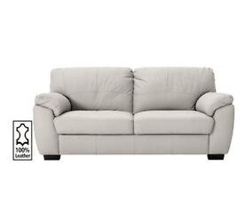 Milano 3 Seater Leather Sofa - Light Grey